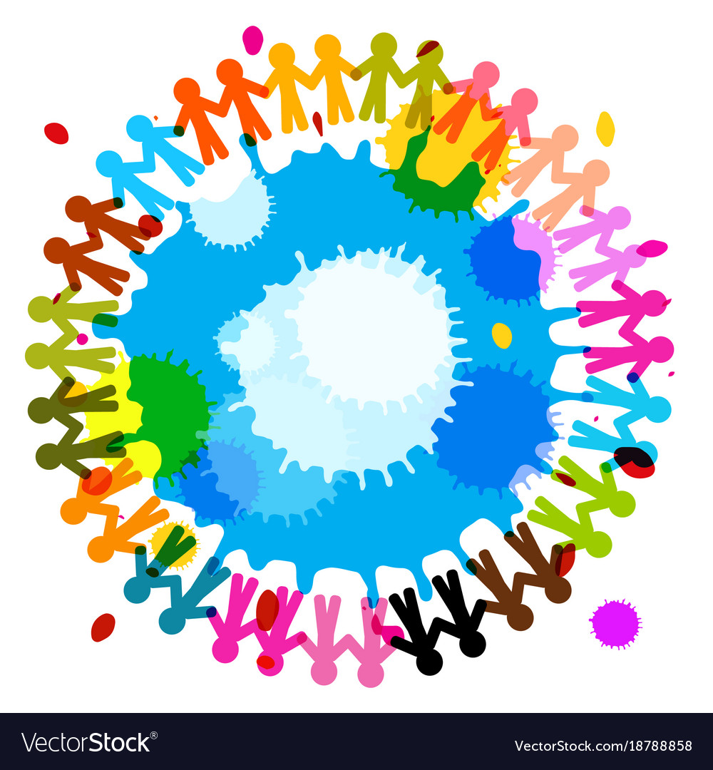 People holding hands with splashes colorful vector image