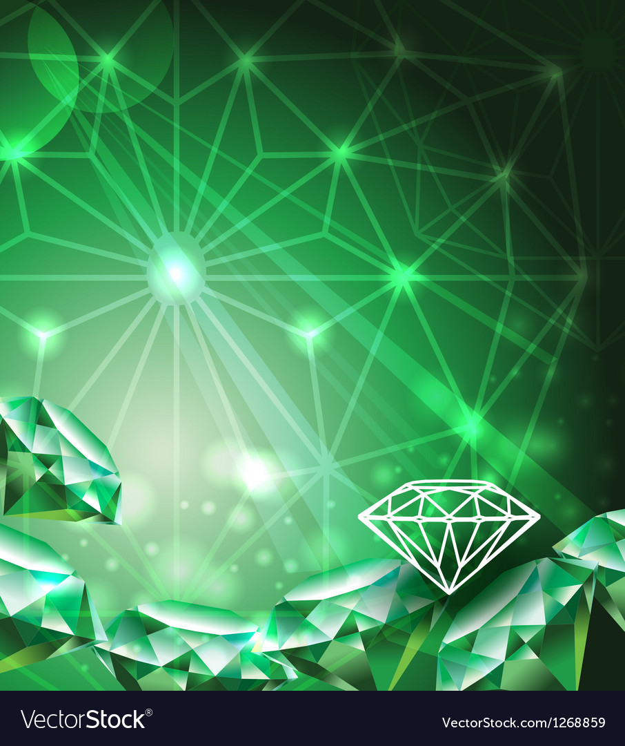 Background with green emerald vector image
