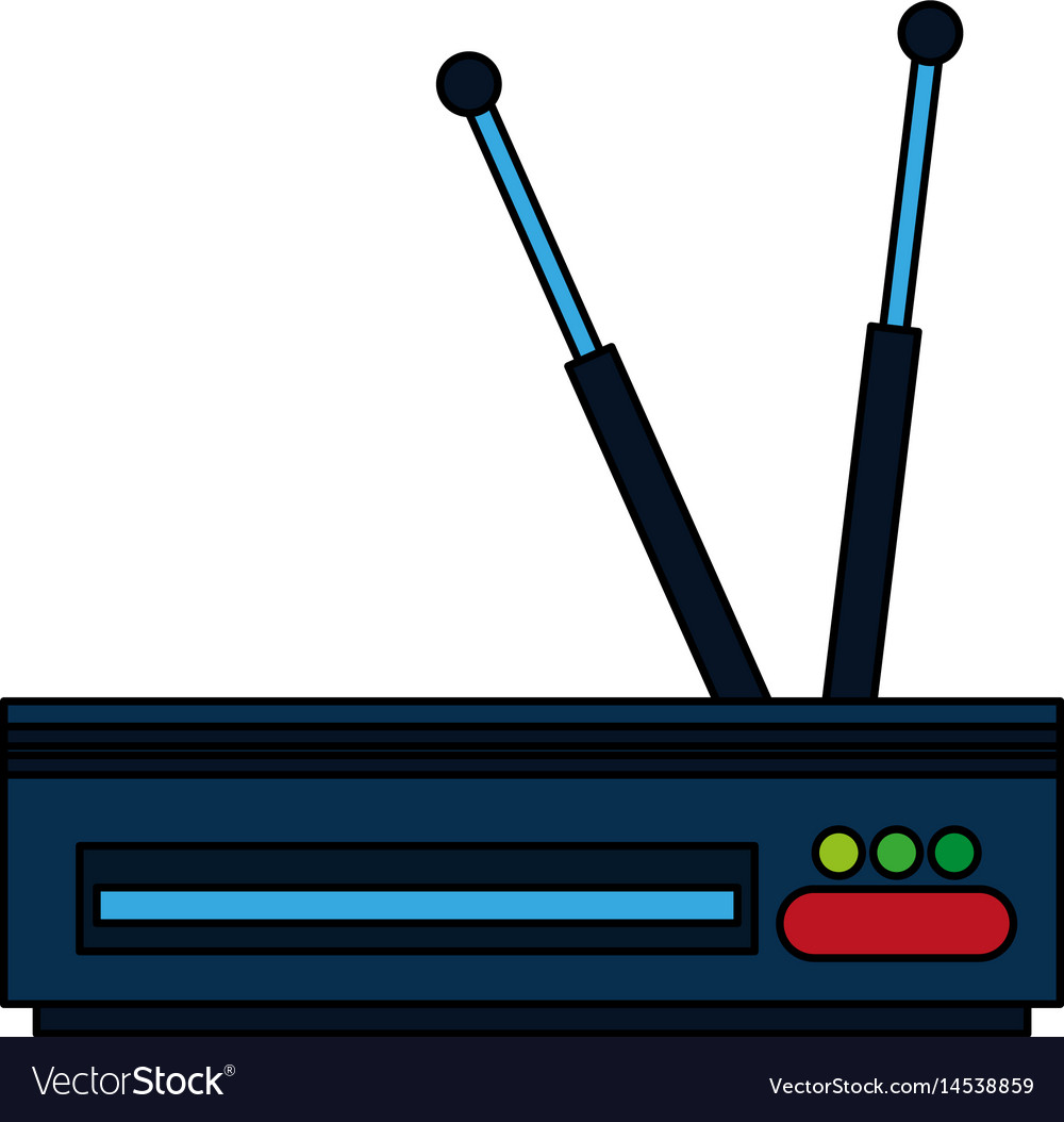 Colorful graphic decoder antenna tv vector image