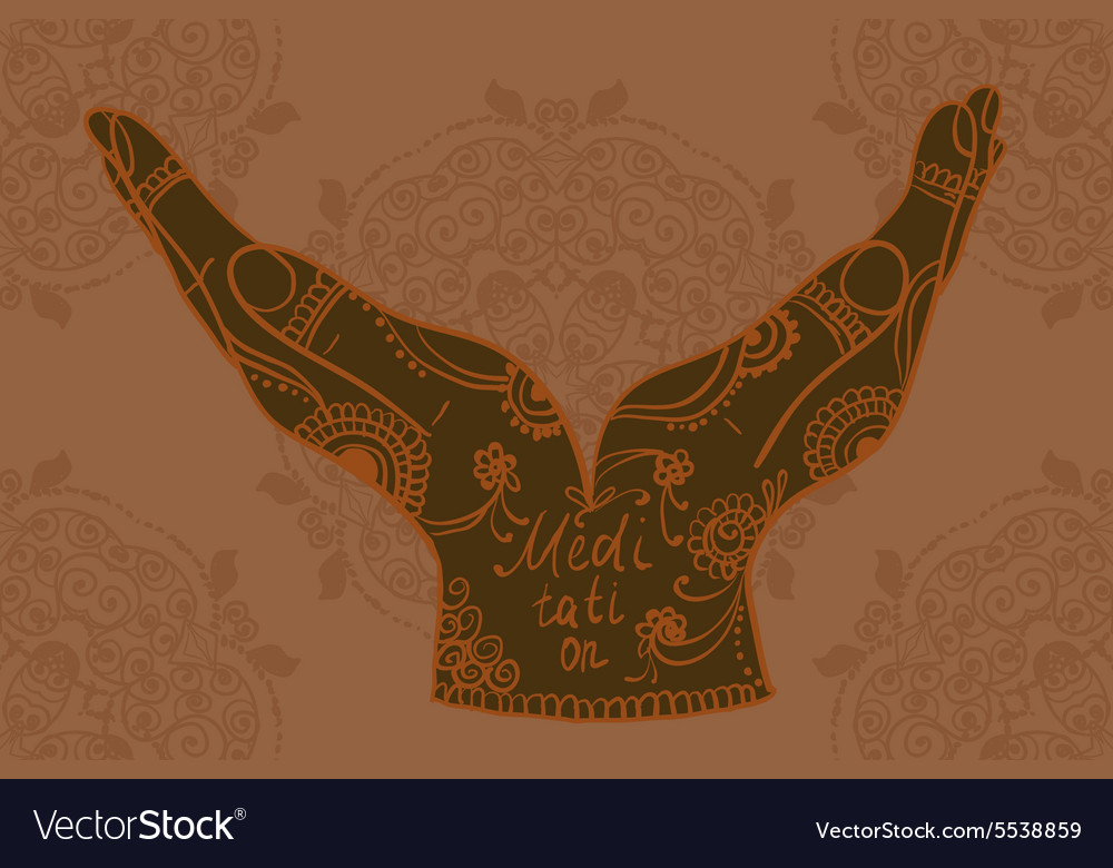 Mehndi Patterns Images : Element yoga mudra hands with mehndi patterns vector image