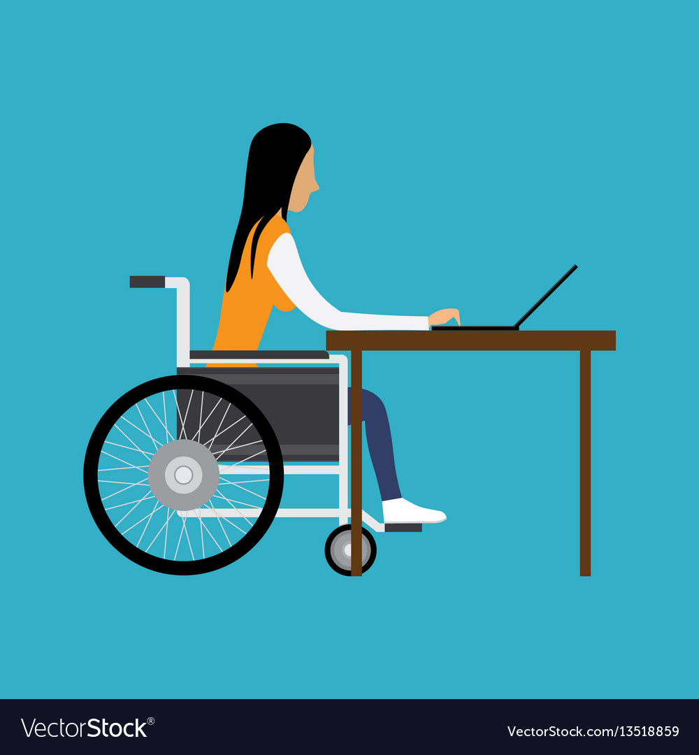 Handicapped woman working with laptop vector image