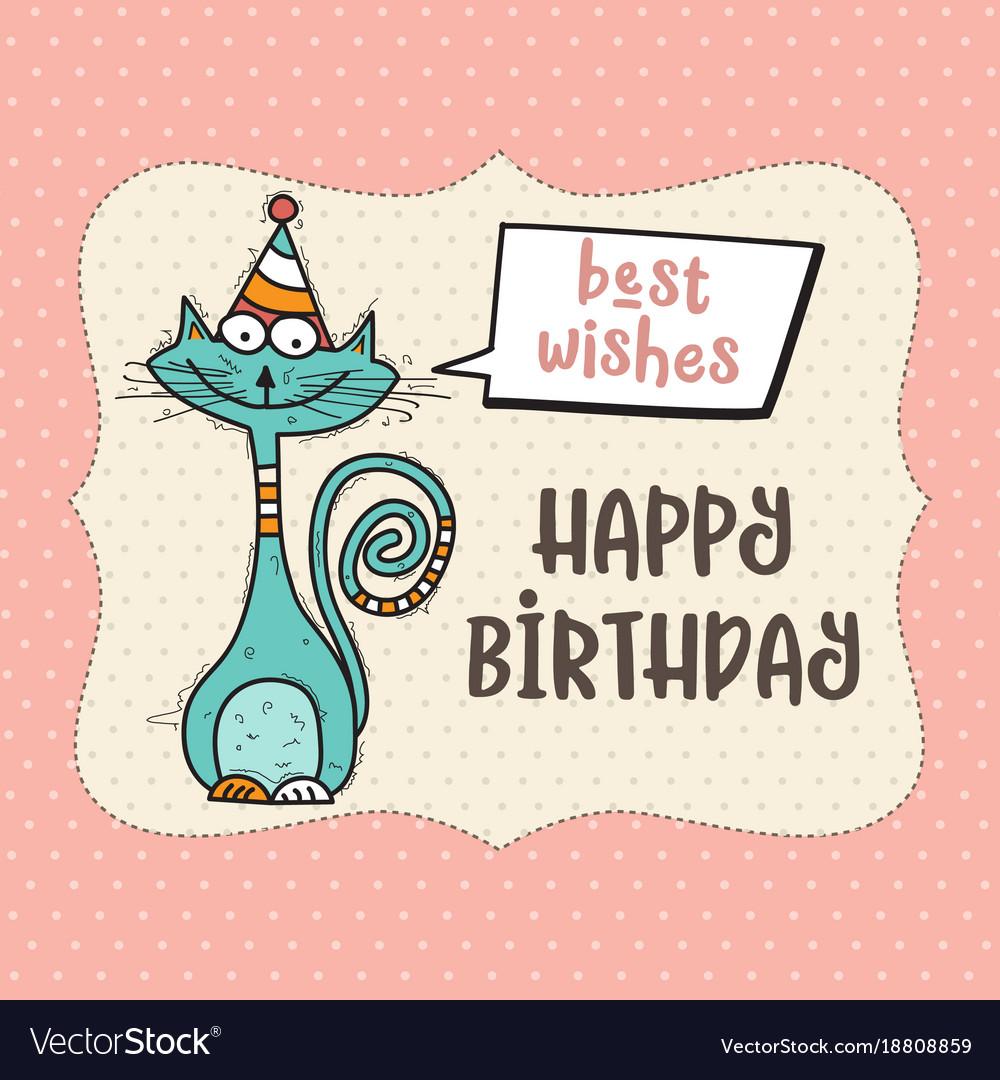 Happy birthday card with funny doodle cat vector image bookmarktalkfo Gallery