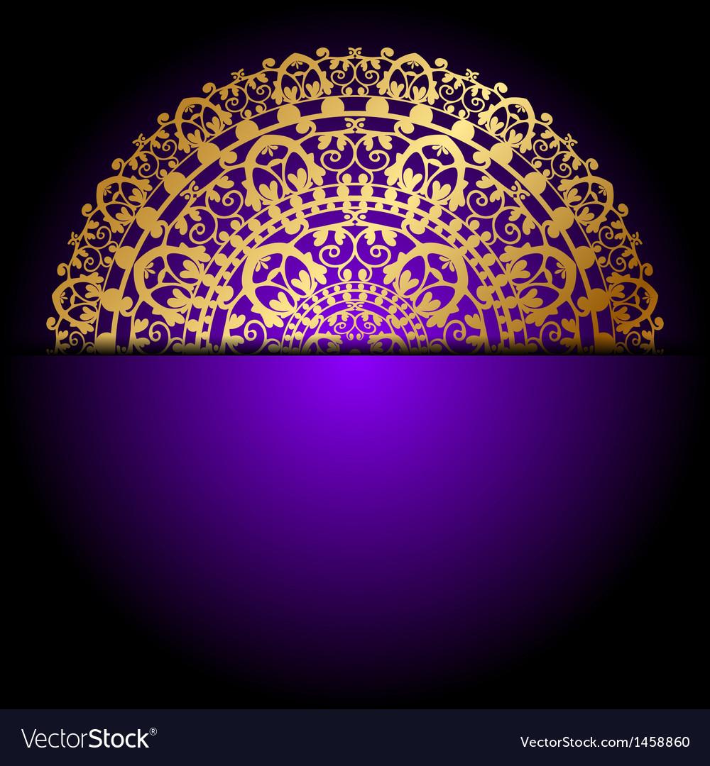Gold ornament purple background Vector Image