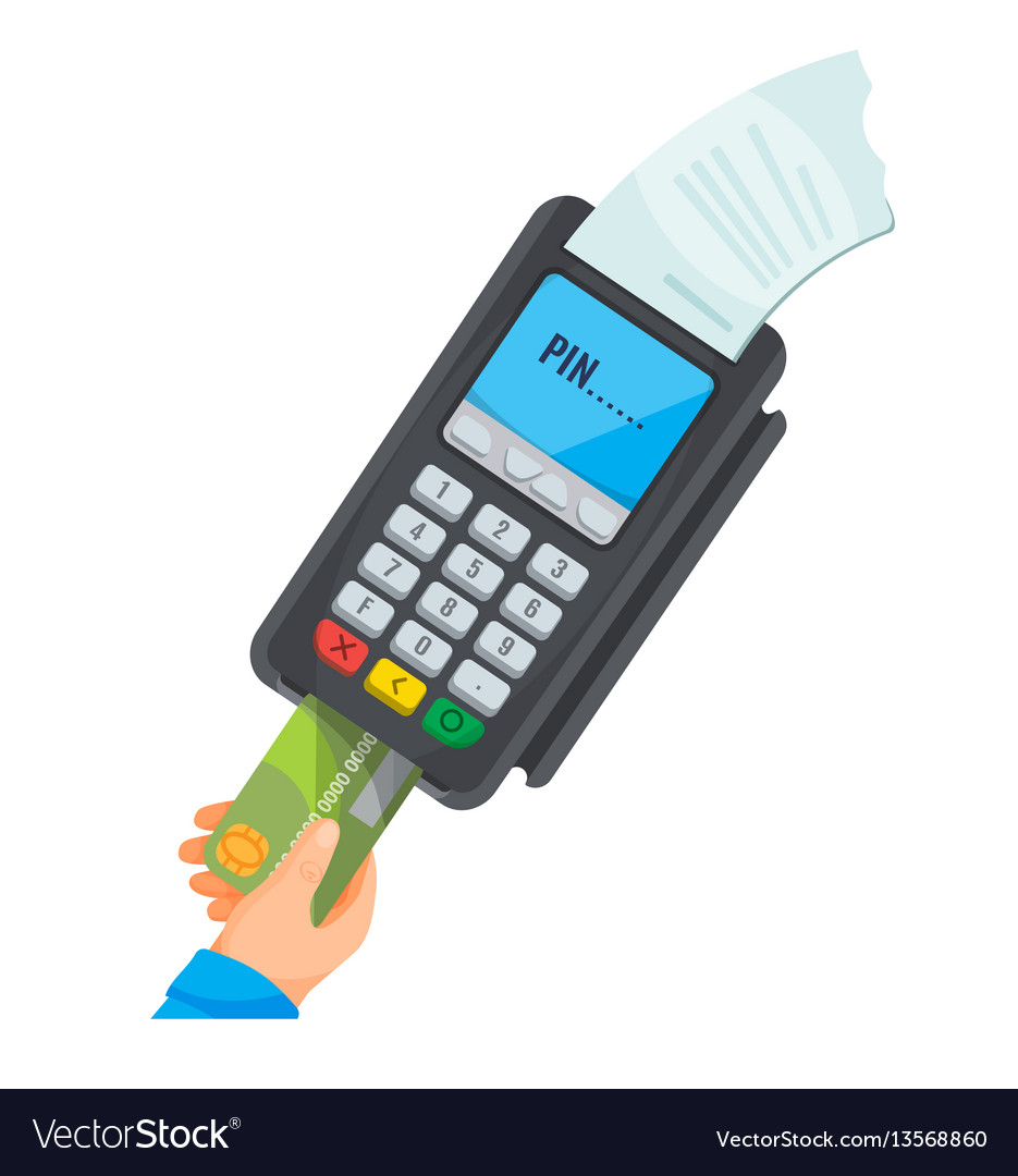 Hand taking card from dark pos terminal with white vector image