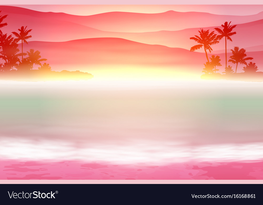 Background with sea and palm trees sunset time vector image background with sea and palm trees sunset time vector image sciox Choice Image