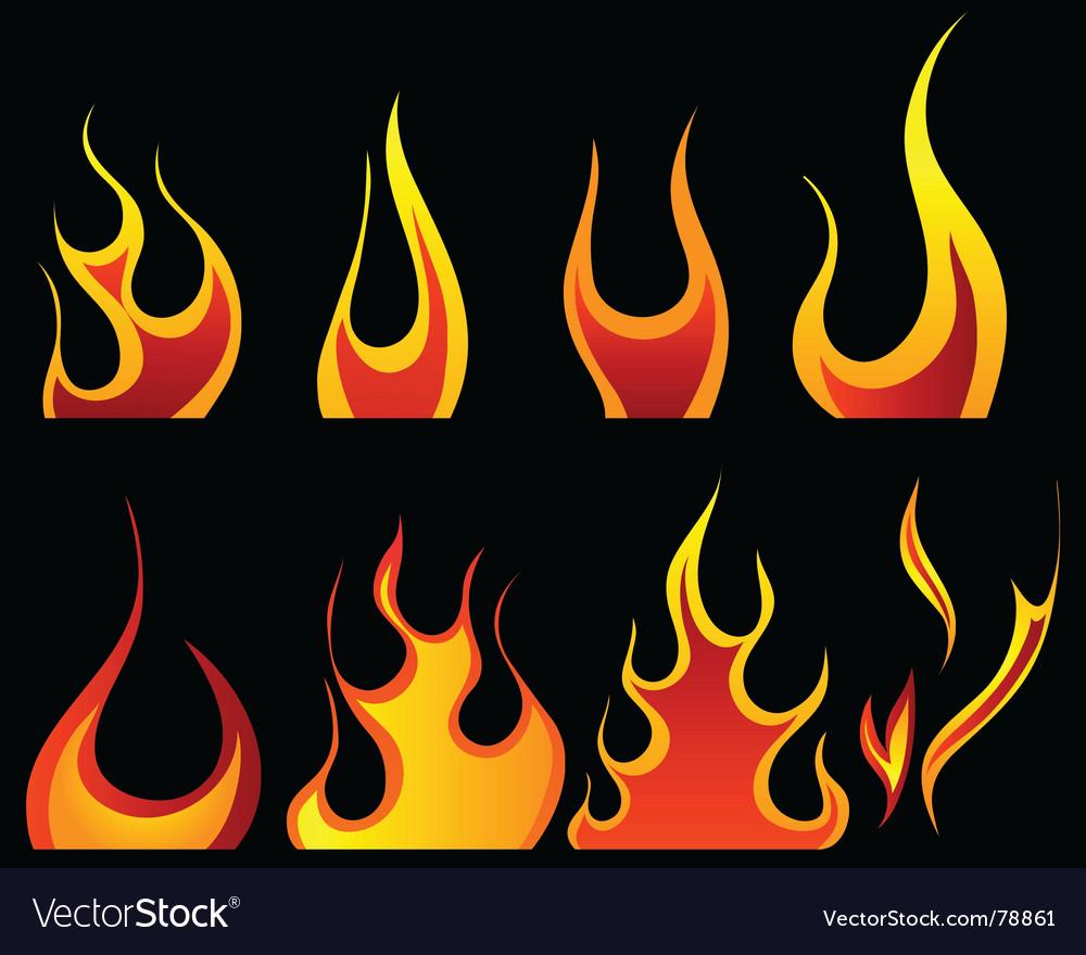 Fire patterns set vector image