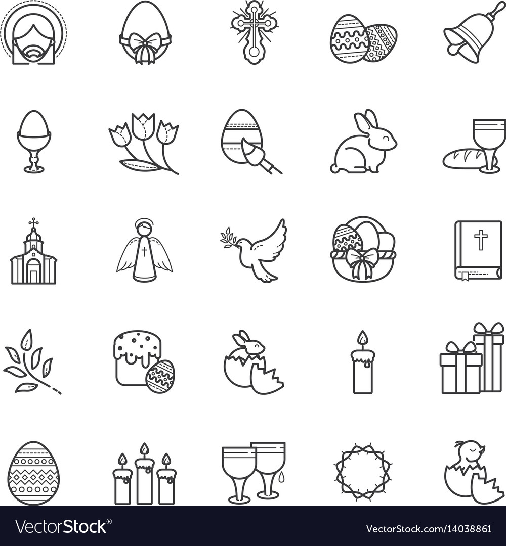 Outline icons easter symbols spring set vector image buycottarizona Images