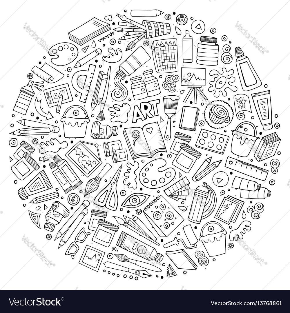 Set of art cartoon doodle objects vector image