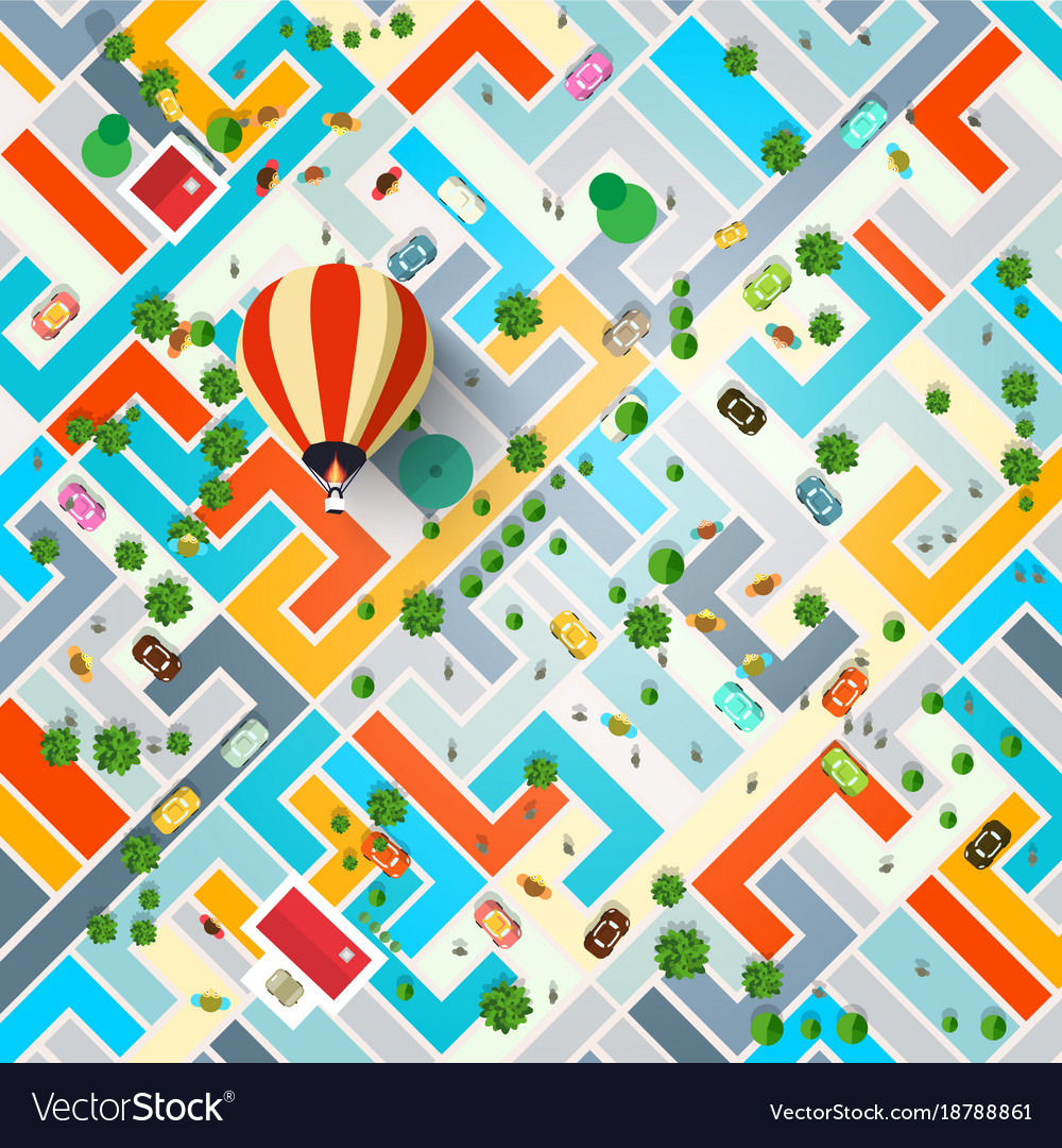 Top view city with hot air balloon town with vector image