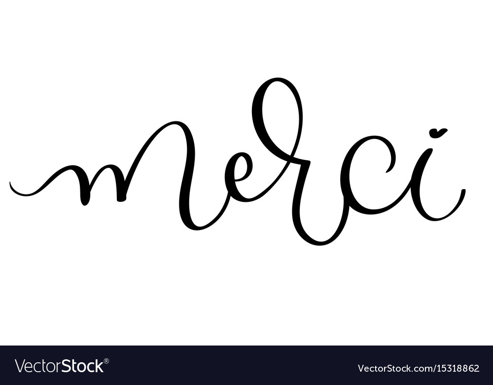 Merci vintage word text calligraphy royalty free vector