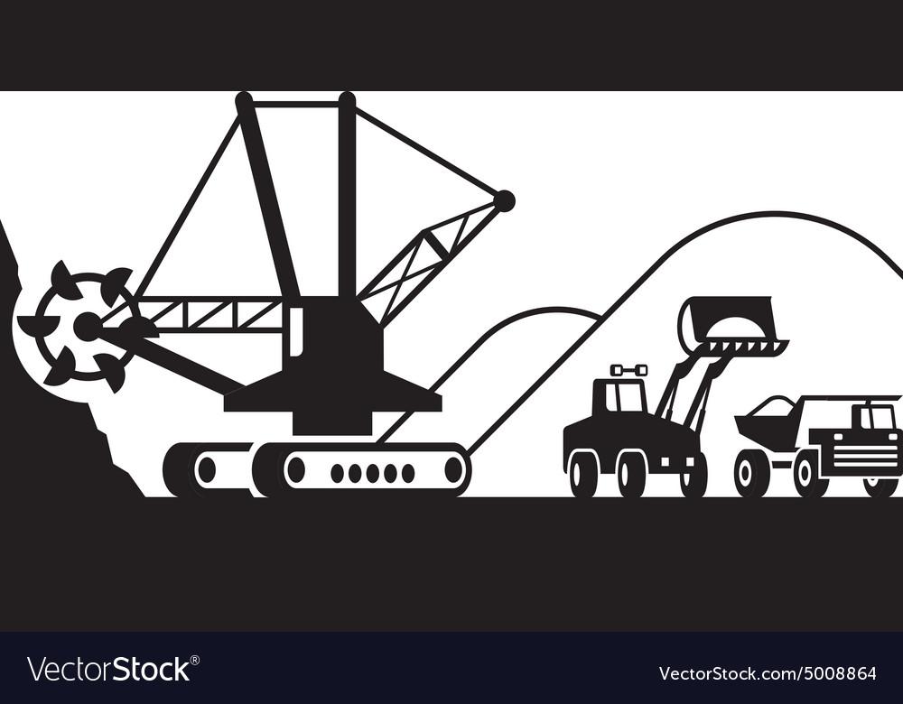 Heavy mining machinery vector image