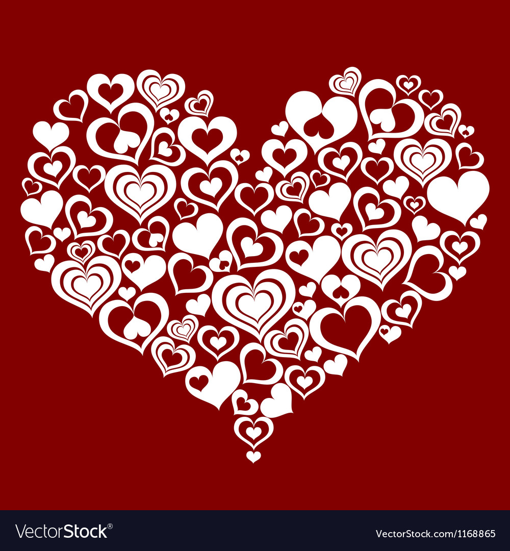 Abstract heart made from small hearts vector image