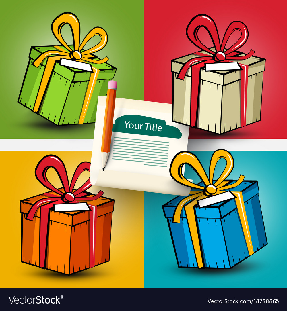 Gift boxes set present box on colorful backgrounds vector image