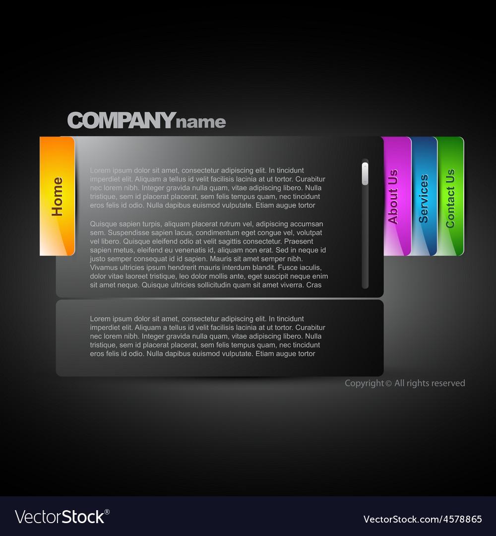 Stylish dark web layout vector image