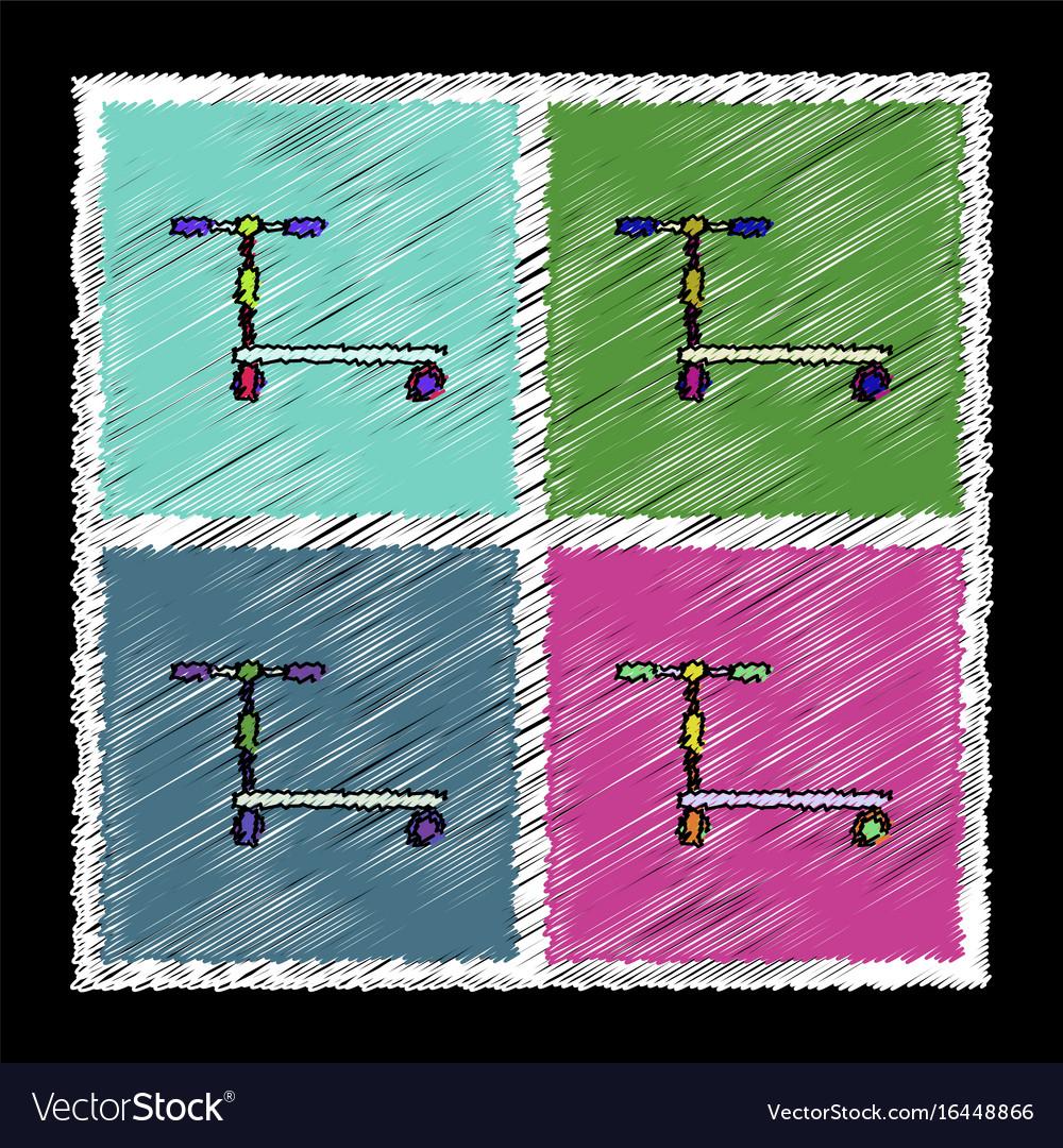 Set of flat shading style icons kids bicycle
