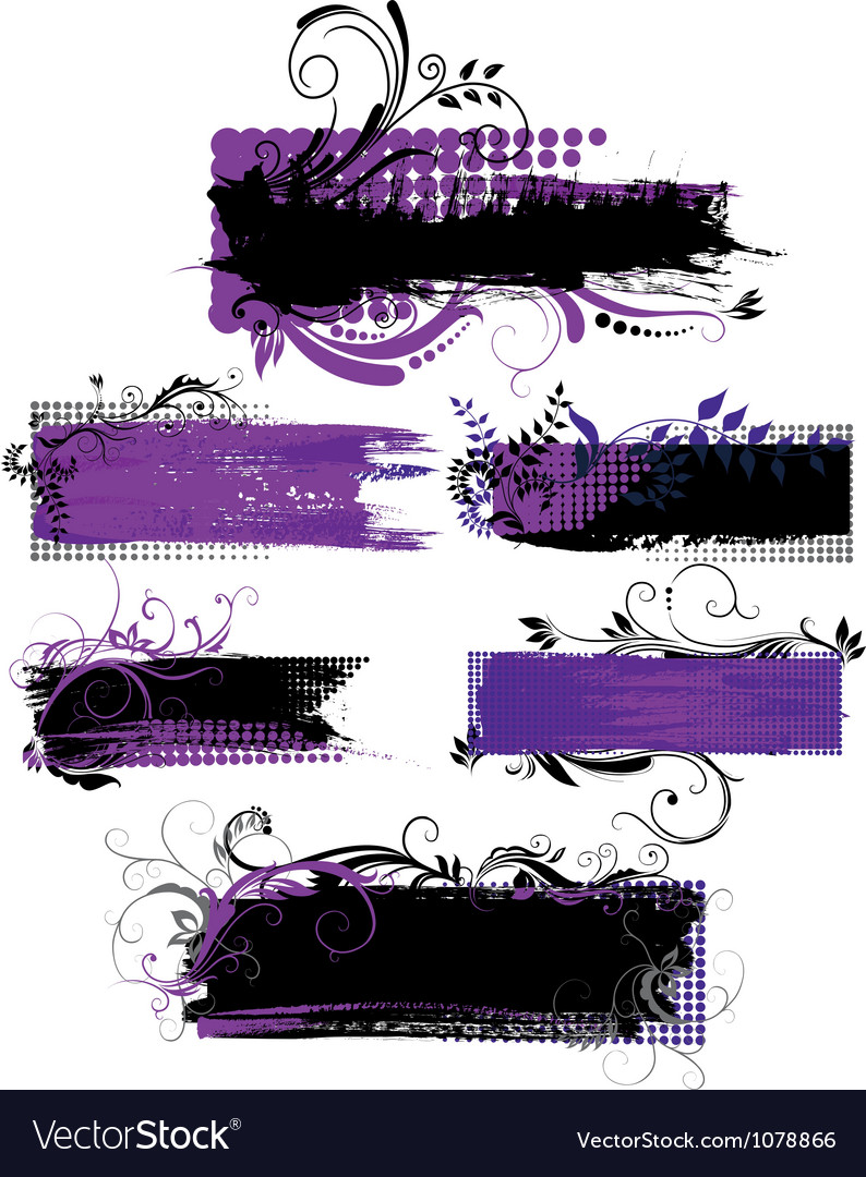 Set of grunge banners with patterns vector image
