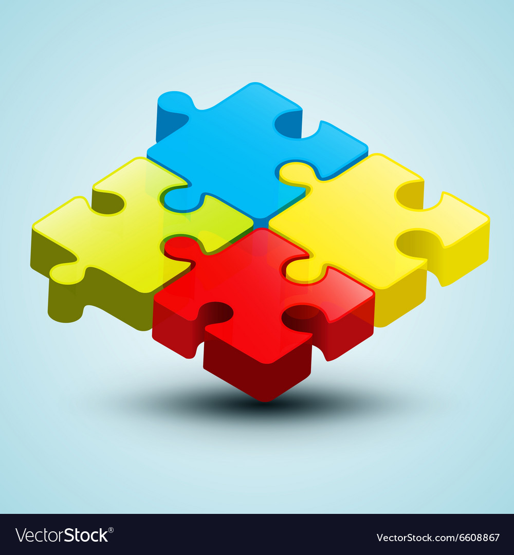 Colorful 3D Puzzle vector image