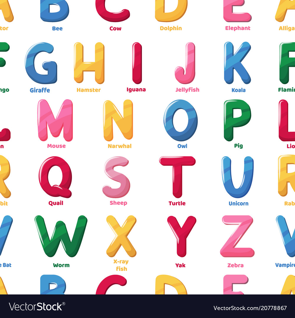Alphabet Pattern Cartoon Letter Abs Royalty Free Vector