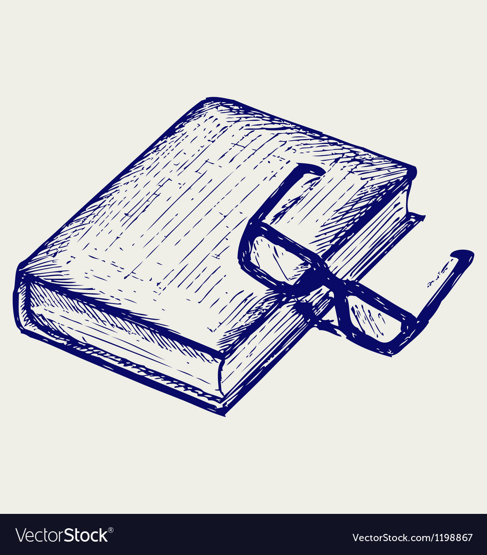 Book and glasses vector image