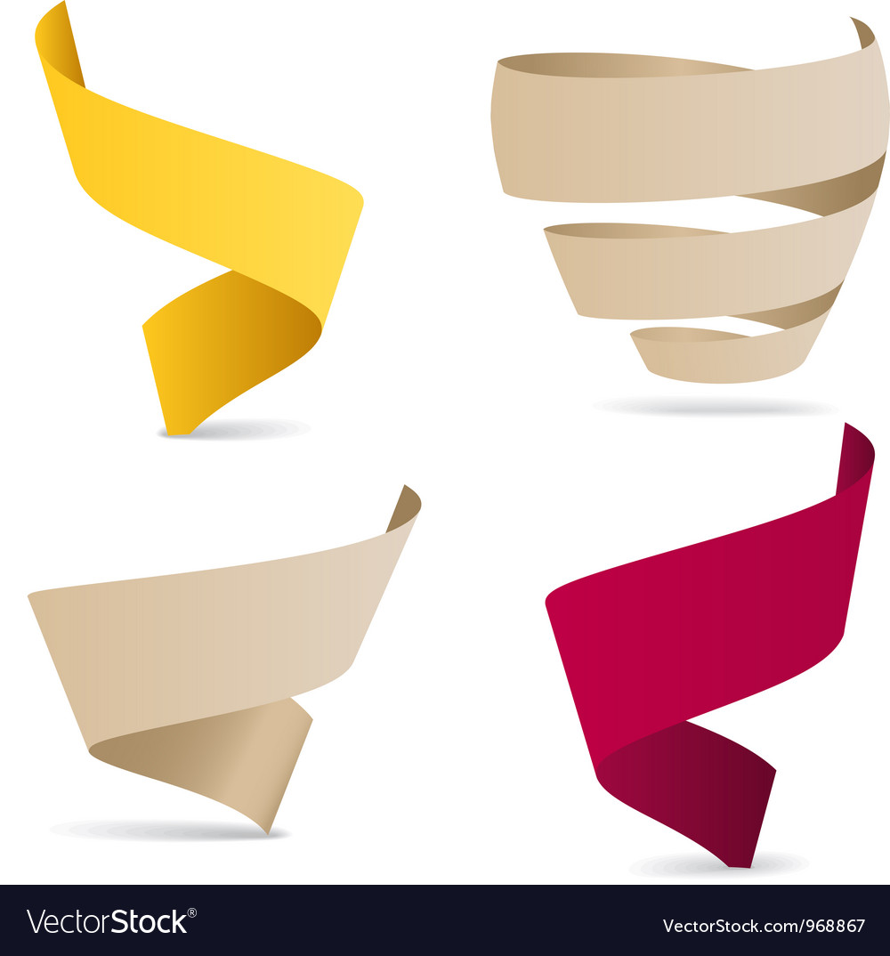 Color origami ribbons vector image