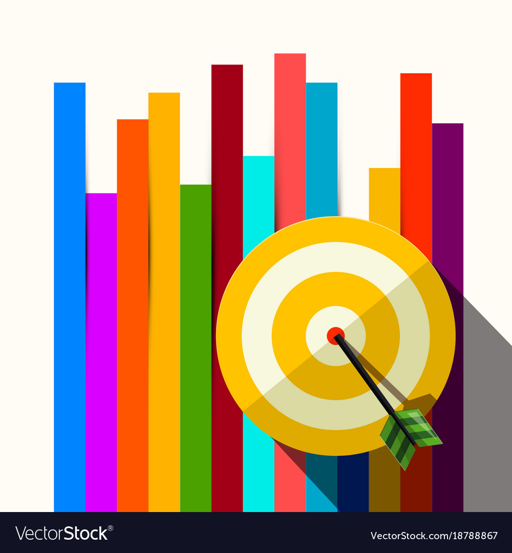 Target with dart on colorful papers background vector image