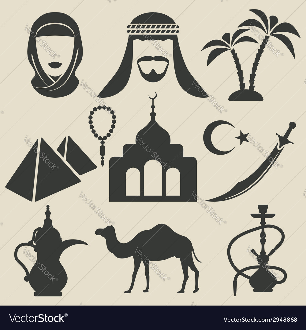 Arabic icons set vector image
