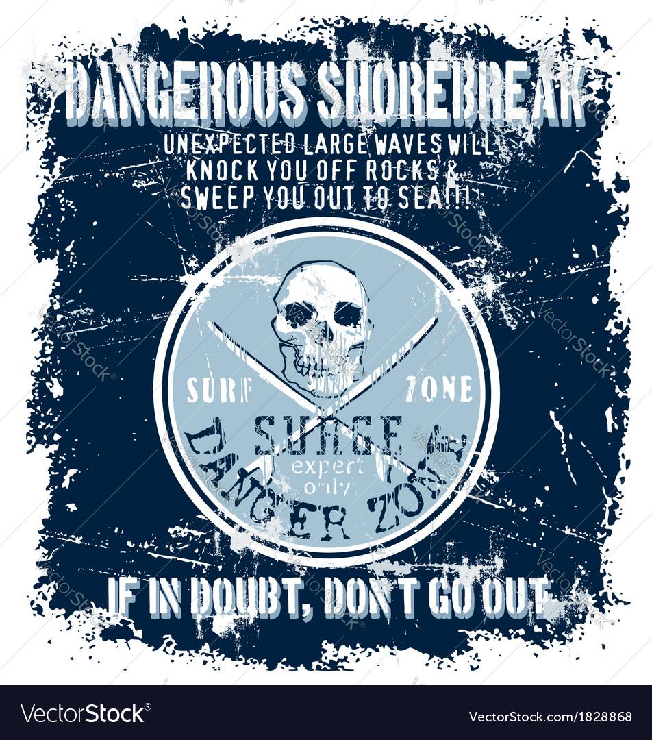 Surf danger zone vector image