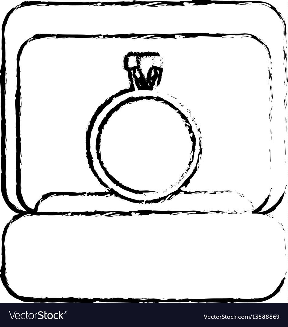 Box ring wedding image sketch vector image