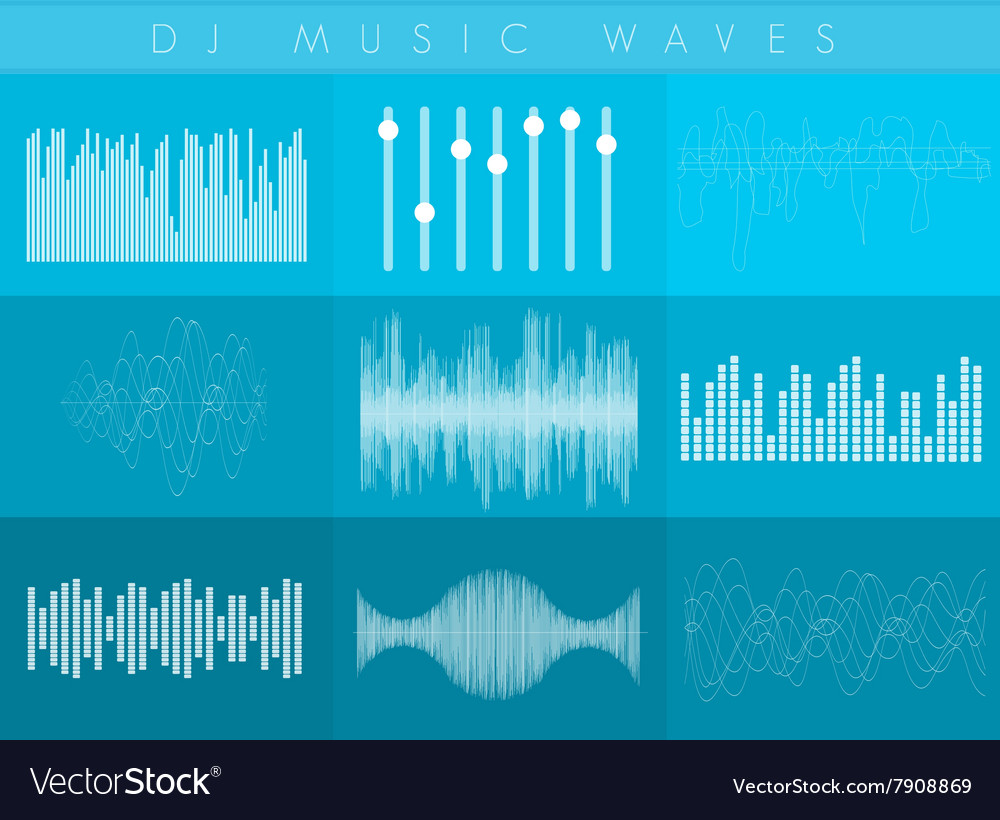 DJ sound waves set White transperant color vector image