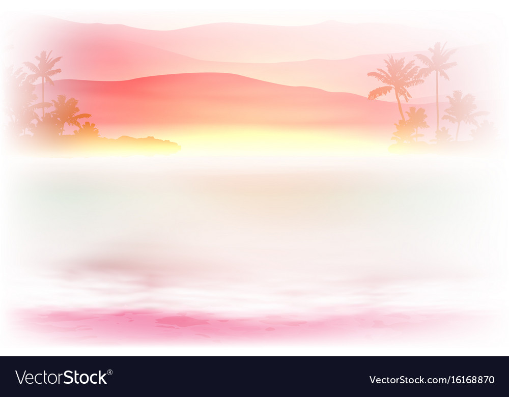 Background with sea and palm trees sunset time vector image