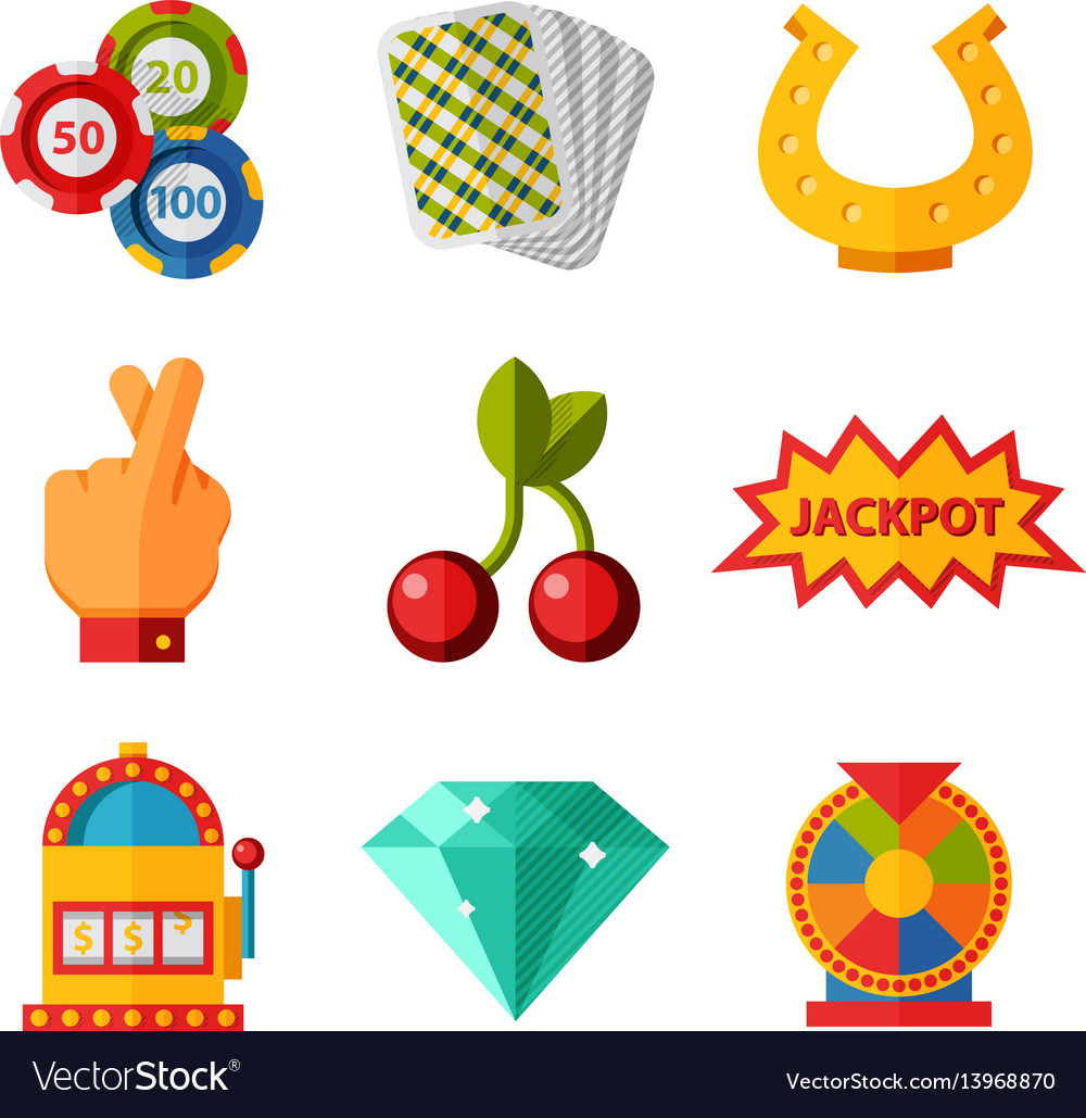 Casino game icons poker gambler symbols blackjack vector image