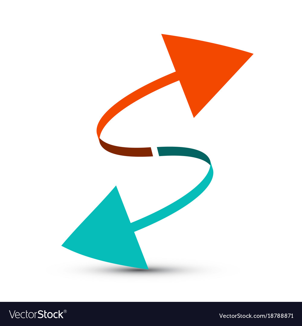 Arrows red and blue arrow vector image