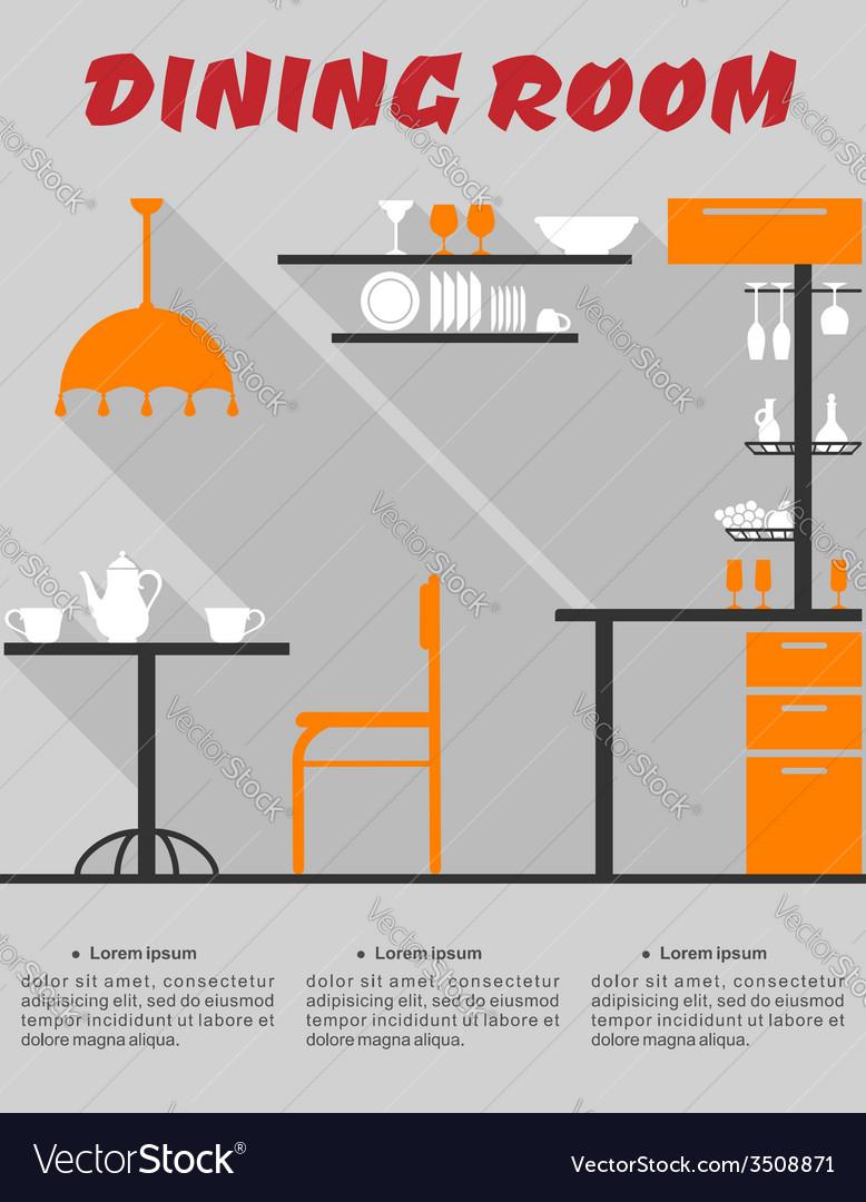 Dining room interior in flat format vector image