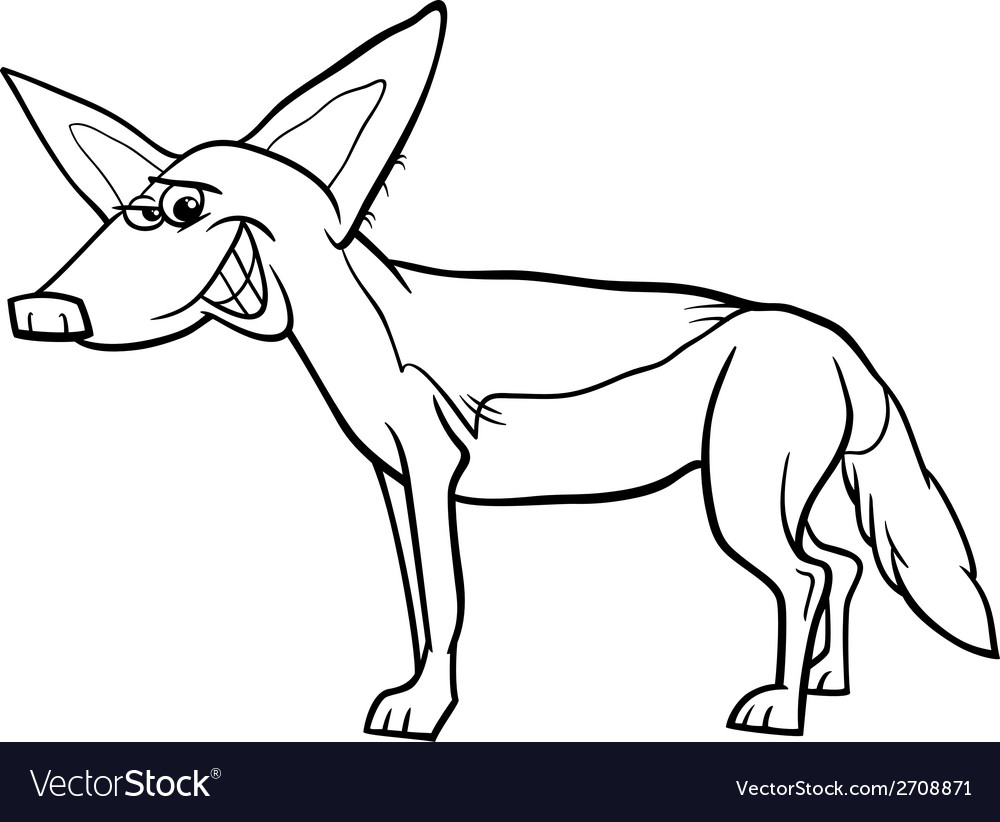 jackal animal cartoon coloring page royalty free vector