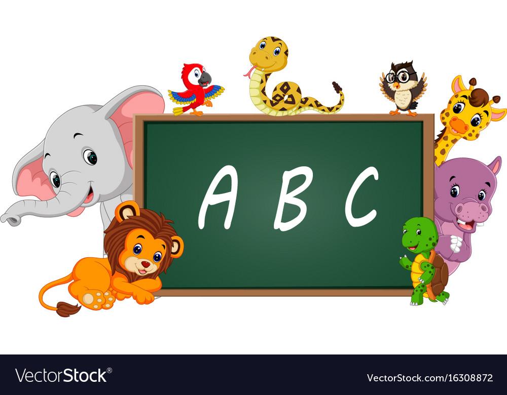 Alphabet with cute wild animal vector image