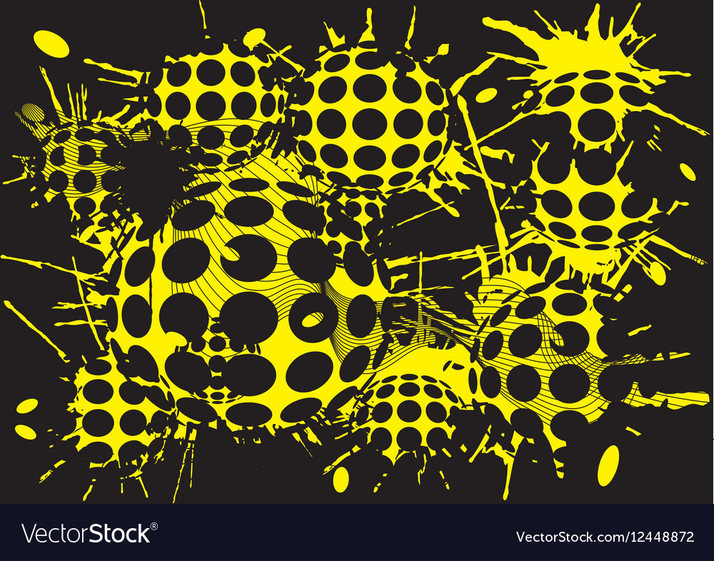 Background halftone blot yellow balls vector image