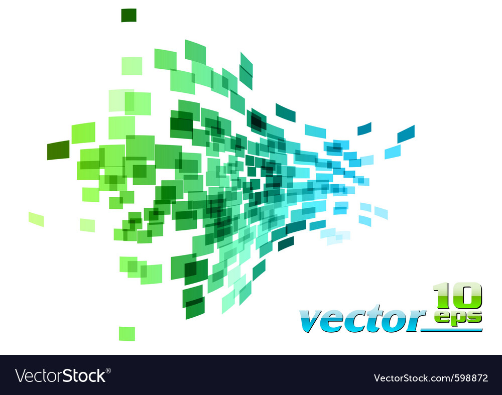 Green and blue wave square vector image