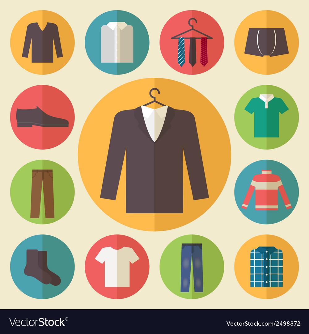 Man clothing icons set vector image