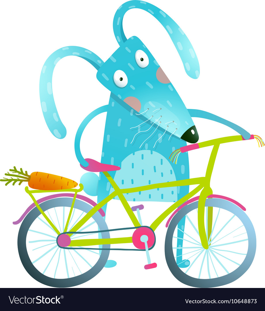 Cartoon blue bunny with bicycle vector image