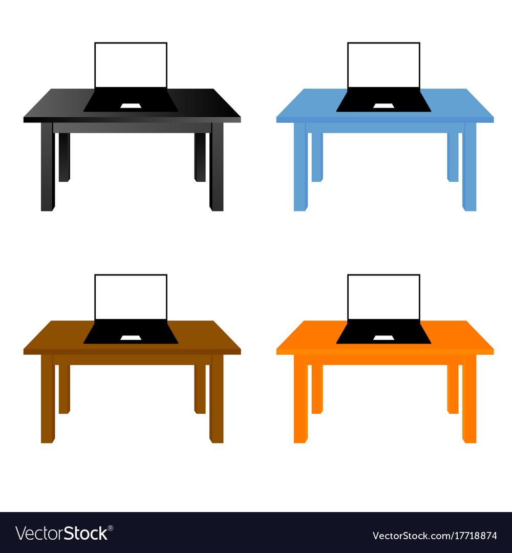 Laptop on desk set vector image