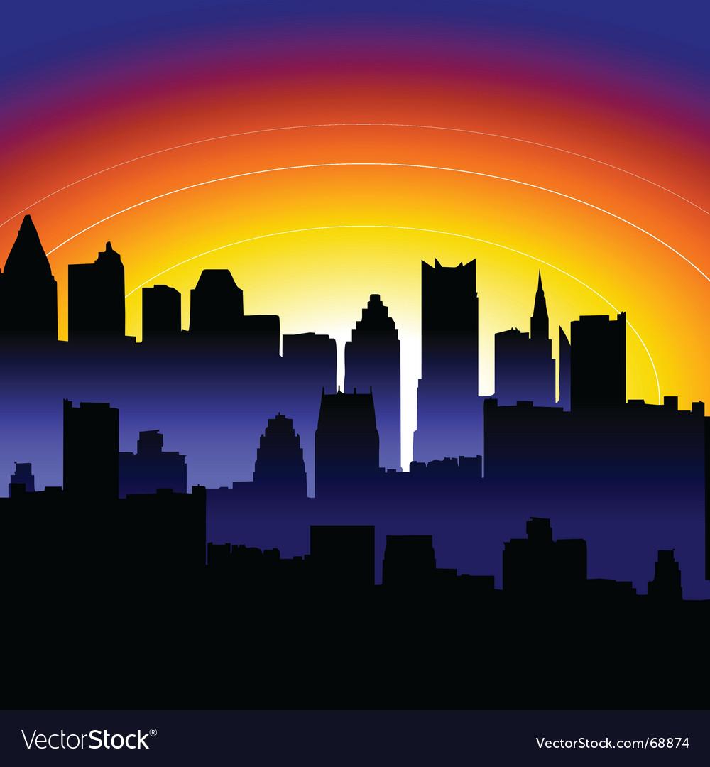 Sunrise city vector image