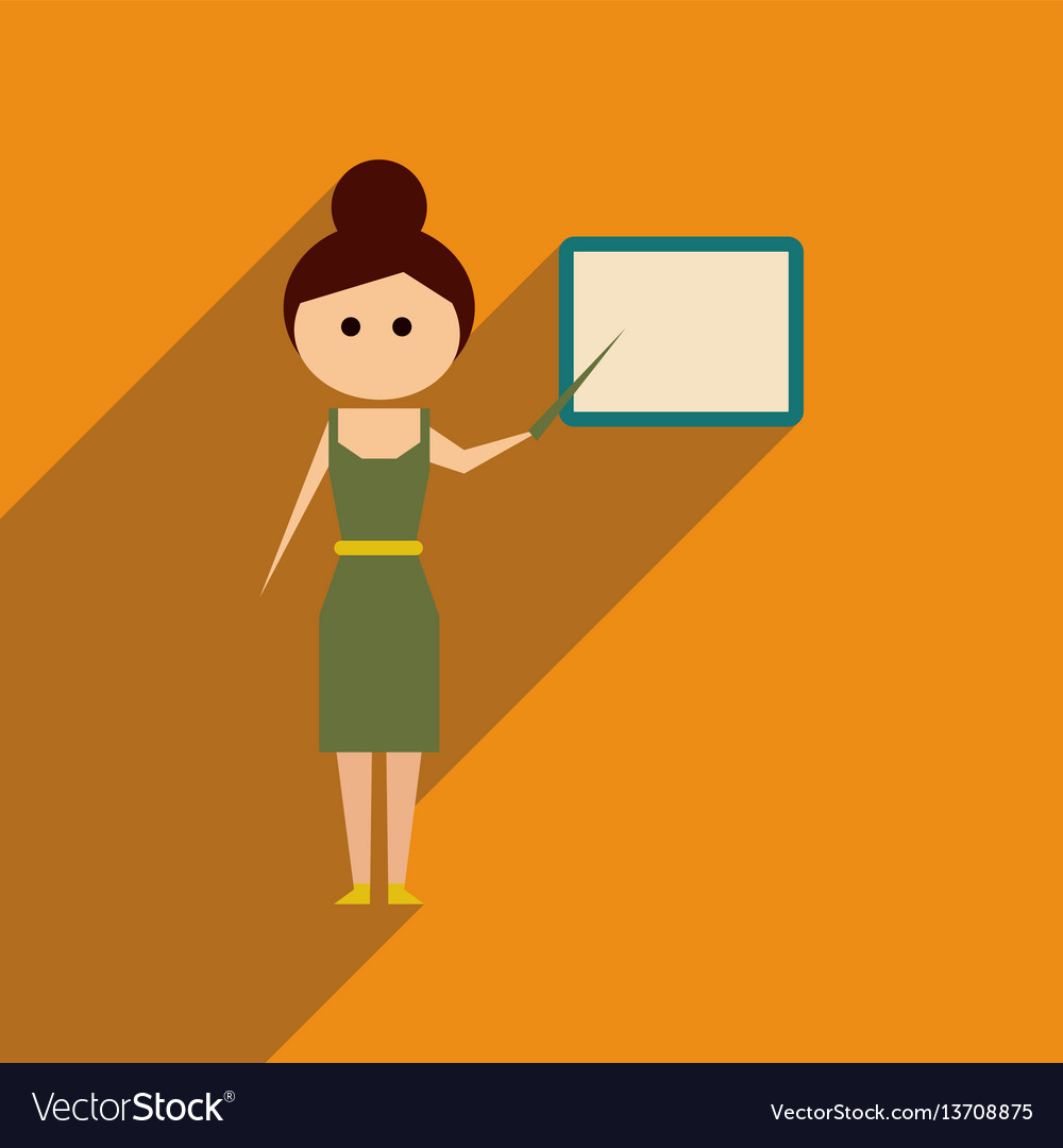 Flat web icon with long shadow woman teacher