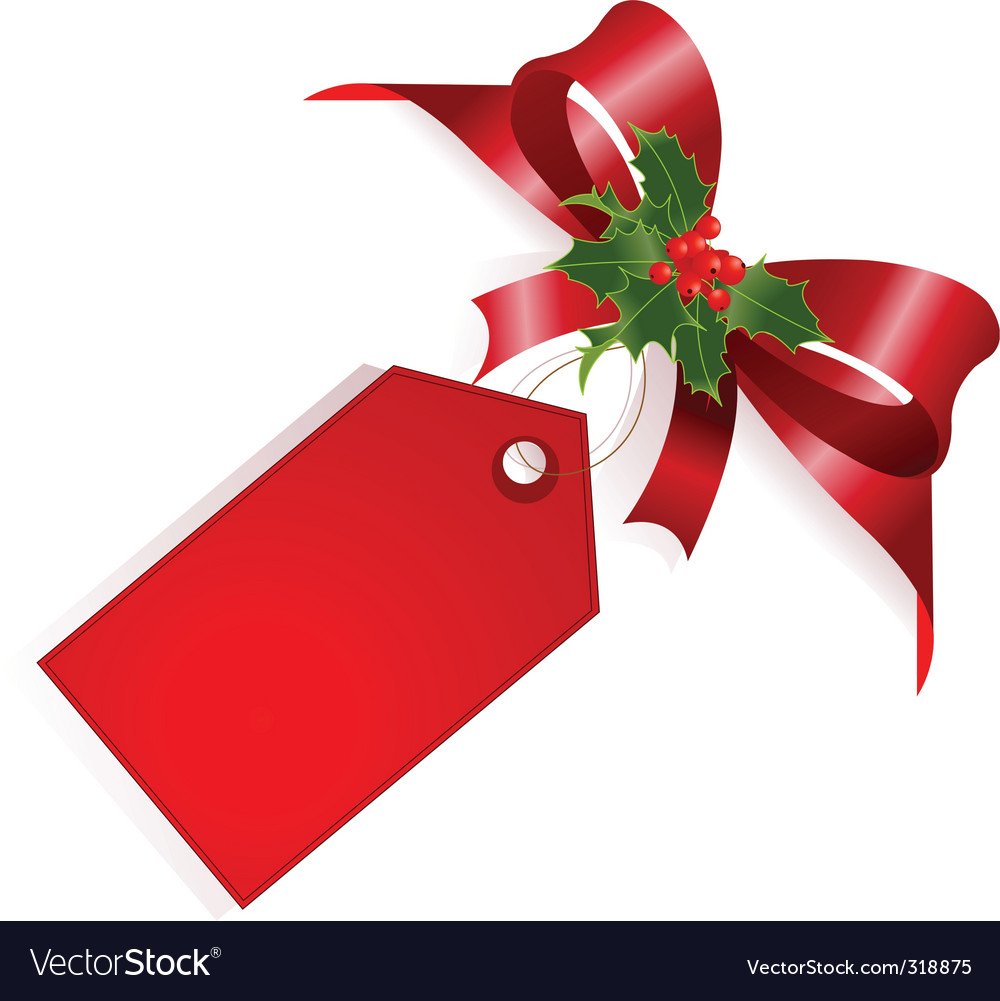 Red ribbon and label vector image