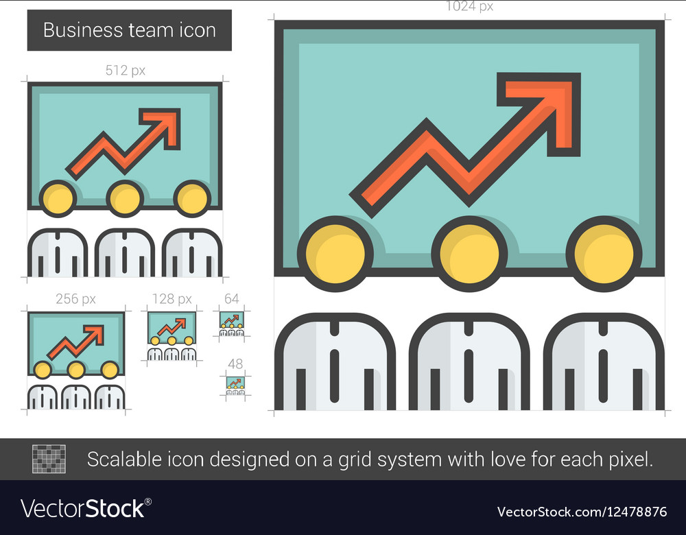 Business team line icon vector image