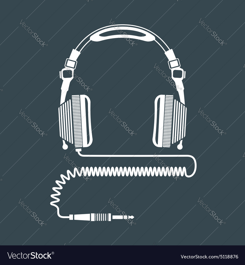 Solid color big dj headphones device vector image