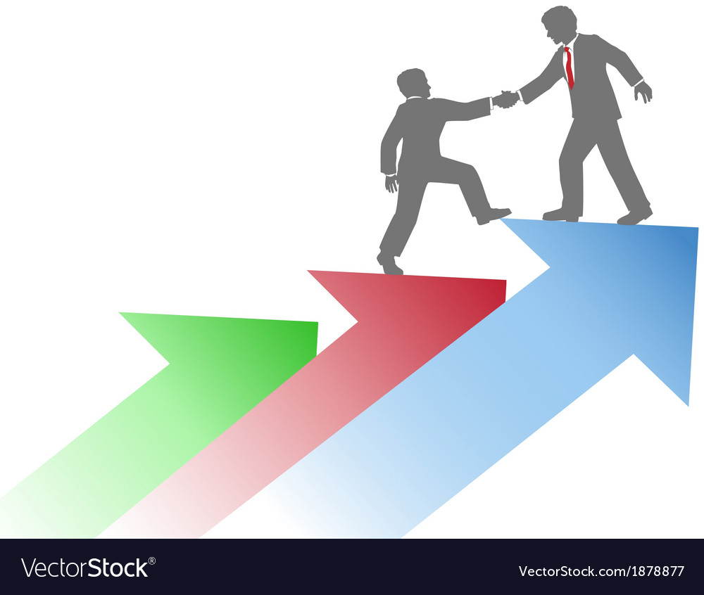 Business people helping team up success vector image