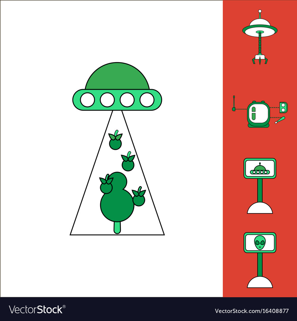 Collection of icons and space saucers and aliens