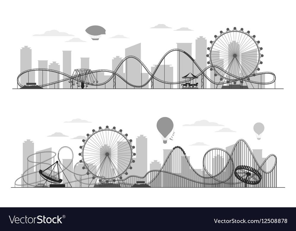 Fun fair amusement park landscape silhouette with vector image