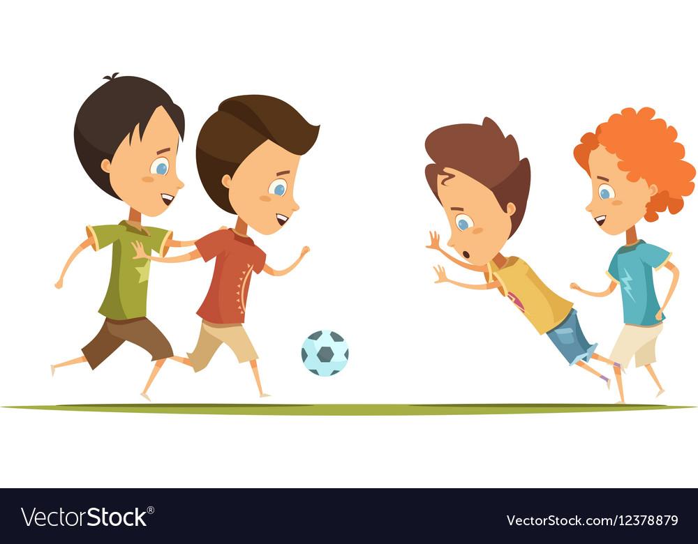 Boys Playing Soccer Cartoon Style vector image