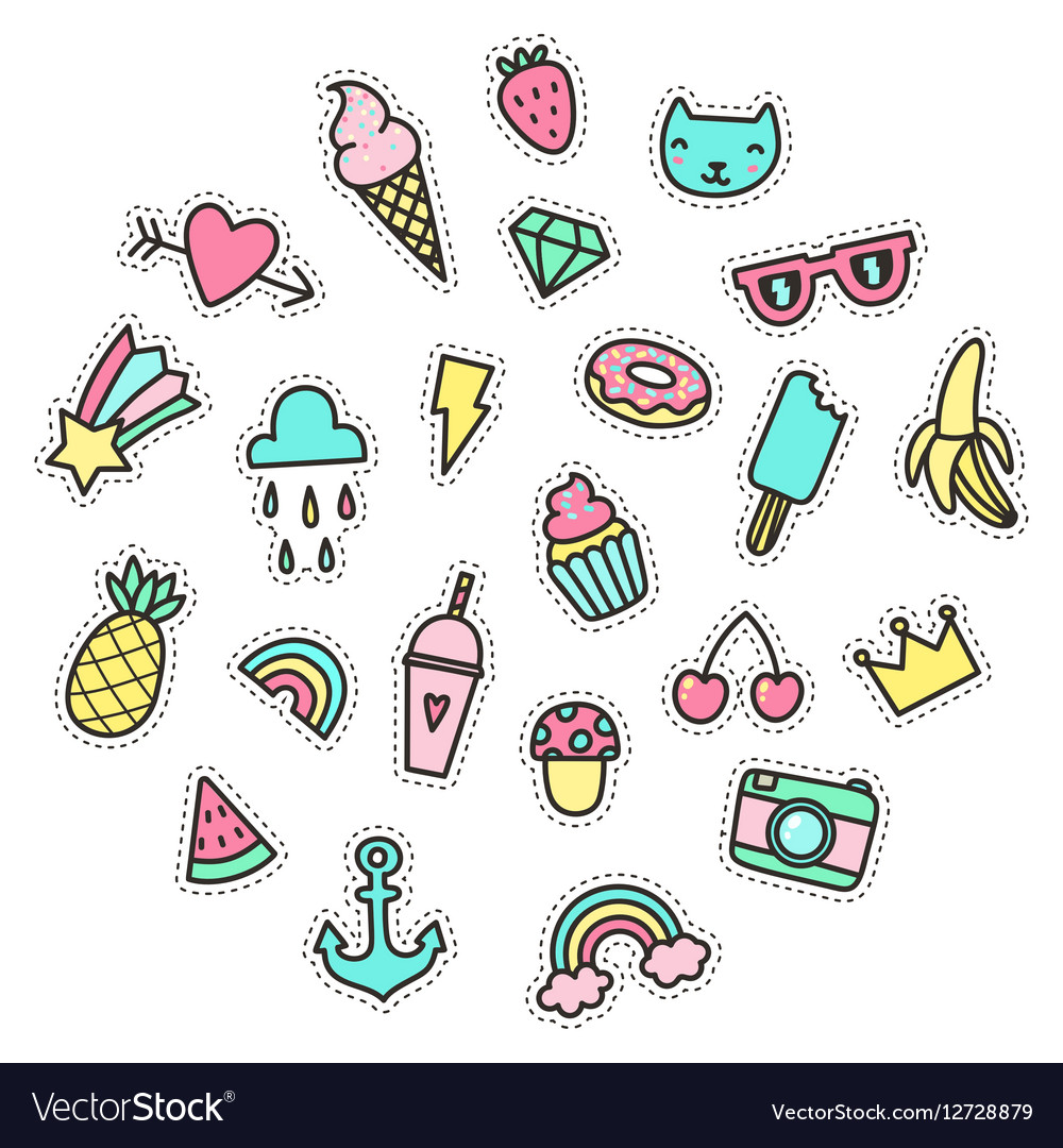 Cute funny small objects food symbols etc vector image cute funny small objects food symbols etc vector image biocorpaavc